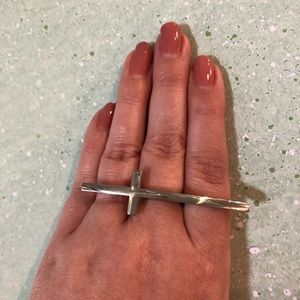 Silver cross edgy & unique ring by Forever 21